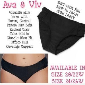 Ava & Viv Swim Bottoms Size 20W/22W Ruched NWT